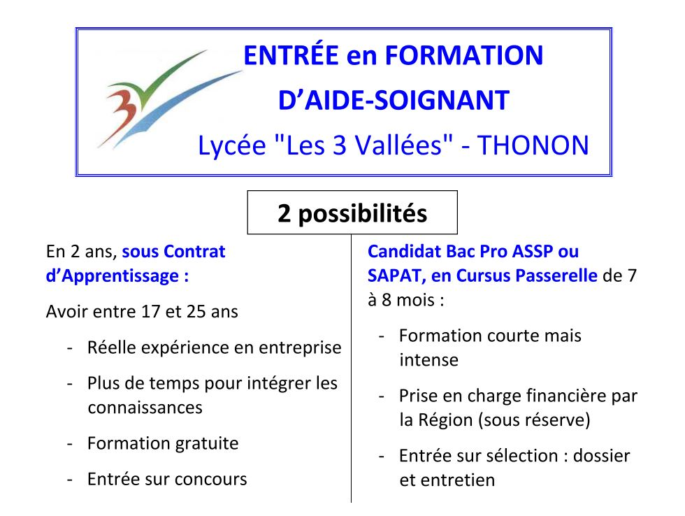 formation aide soignante 2 ans