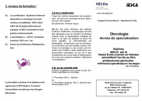 formation infirmiere oncologie belgique
