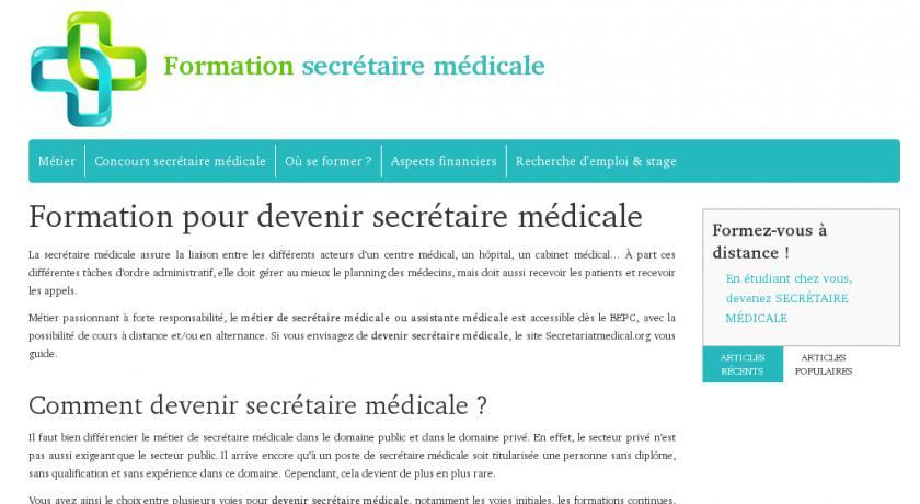 formation secretaire medicale sans stage